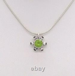 Sterling Silver With Peridot Pendant Necklace By Ivey Bow