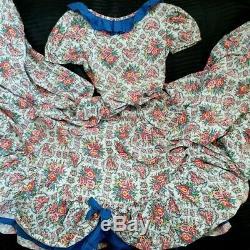 Stuning Vintage handmade full circle bow flower Dress Hippie Boho Maxi dress