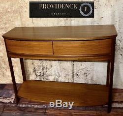 Superb, Mid Century, Teak, Bow Front Console Vintage Heavy Handmade