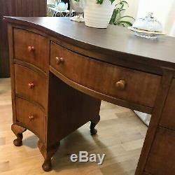 Superb Vintage Antique Hardwood Bow Fronted Desk Dressing Table Console Table