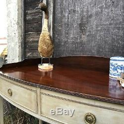 Swedish Gustavian Style Grey Painted Vintage Mahogany Bow Console Table / Desk
