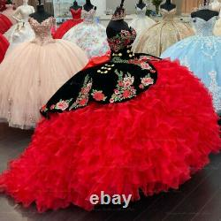Sweet 16 Embroidered Quinceanera Dresses Velvet Corset Tiered Ruffle Ball Gowns