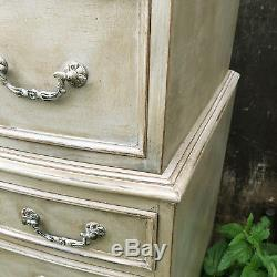 Tall Vintage Grey Country Gustavian Style Bow Fronted Tallboy Chest of Drawers