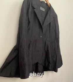 Terry Macey 100% Silk One Of A Kind Handmade Peplum Black Jacket Size 14