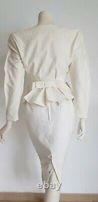 Thierry MUGLER jacket and skirt white cream suit piquet fabric Bow on the back U