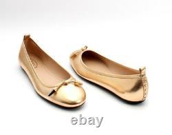Tod's 614 Gold Tone Metallic Leather Ballerina Flats 37 / US 7