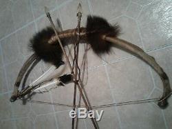 Tribal Rib Dance Bow Buffalo Rib handmade Vintage American Artifact Signed BEAR