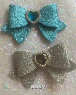 UK Seller Sparkling Glitter Double Bow Girl Hair Clip Girls Baby Christmas