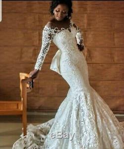 UK Sheer Neck White/Ivory Mermaid Bow Long Sleeve Lace Wedding Dresses Size 6-18