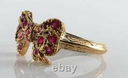UNUSUAL 9CT 9K GOLD INDIAN RUBY BOW ART DECO INS KNOT RING Size L & Free Resize
