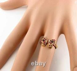 Unusual 9ct 9k Gold Indian Ruby Bow Art Deco Ins Knot Ring Free Resize