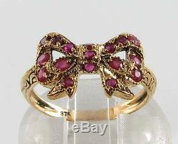 Unusual 9ct 9k Gold Indian Ruby Bow Art Deco Ins Ring Free Resize