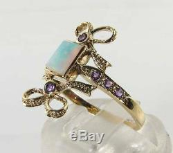 Up finger 9K 9CT GOLD OPAL AMETHYST ART DECO INS KNOT BOW RING FREE RESIZE