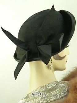 VINTAGE HAT 1940s WWII FRENCH, BLACK FELT BIG BOW DAY HAT w PIN'MAKE DO & MEND