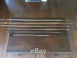 VINTAGE PRIMITIVE HANDMADE SOUTH AMERICAN INDIAN 2 BOWS & 6 ARROWS withQUIVER SET