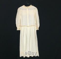 VTG Dress 1920 Drop Waist Midi Shift Pleat Eyelet Lace Embroider Bow Cream Pink