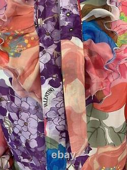 Valentino Floral Print Trim Blouse, Size M BLOUSE MADE WITH VALENTINO FABRIC