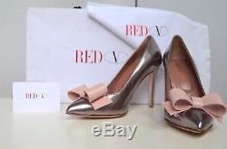 Valentino Red Leather Bow Handmade Italy Heels 37 US 6.5 7 Shoes Silver Pink
