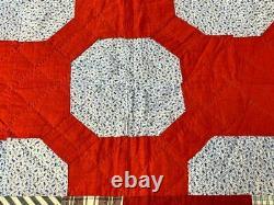 Vibrant Red! C 1900 PA Medallion Bow Tie QUILT Antique Indigo blue