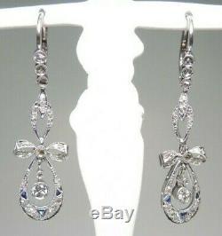 Victorian Art Deco Earrings European Rose Cut Diamond Bow Motif 1.30 Long Fine