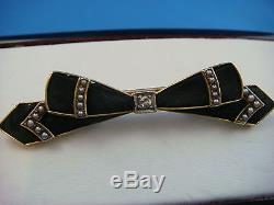 Victorian Bow Brooch With Diamond & Seed Pearls, 14k 3.7 Grams, 53 MM Or 2long