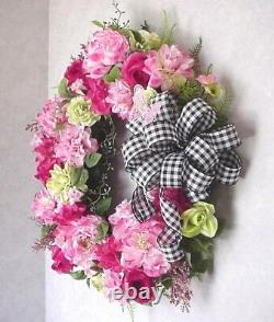 Victorian Country Cottage Chic Shabby Peony Checked Gingham Bow Wreath Door
