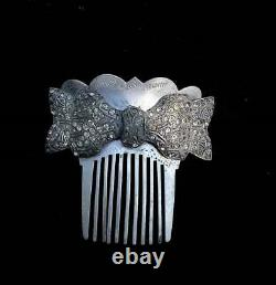 Victorian Rhinestone Aluminum Hair Comb with Pot Metal 1920s Rhinestone Large Bow