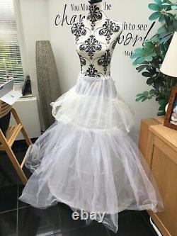 Victorian high quality reproduction boned bodice, full skirt black dress s10-14