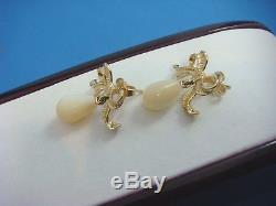 Vintage 14k Yellow Gold Bow Design Earrings With Mother Of Pearl Drops, 4.5 Grams