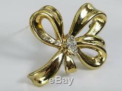 Vintage 14k Yellow Gold Diamond Bow Ribbon Brooch Pin