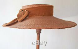 Vintage 1930's Ladies Straw Hat Velvet Band Ribbon With Bow Summer Wide Brim
