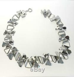 Vintage 1930's Sterling Silver Handmade Stylized Bow Necklace