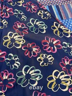 Vintage 1930s Blue Silk Ribbon Bow Novelty Print Bias Cut Long Skirt Art Deco