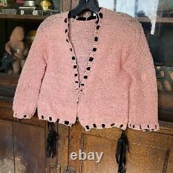 Vintage 1930s Pink Knit Wool Cardigan Sweater Black Velvet Ribbon Bows Handmade