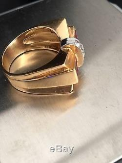 Vintage 1940'-50' Retro Diamond & Ruby Baguette 18k Rose Gold Band Ring bow-tie