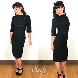Vintage 50s 60s Spector Shanley Black Crepe Sheath Dress 3/4 Dolman Sleeve Bow