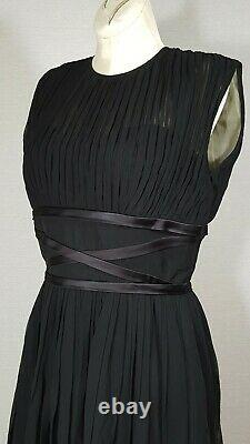 Vintage 50s Sleeveless Goddess Dress Inky Black Pleated Pin Up Fit & Flare