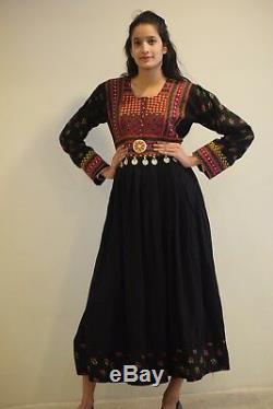 Vintage Afghan Women Handmade Multi color Traditional Long Gown Dress Boho 011