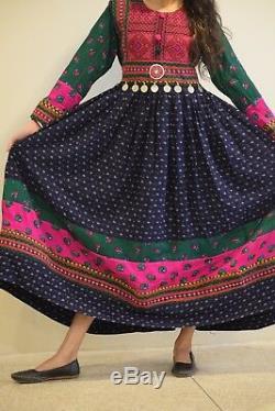 Vintage Afghan Women Handmade Multi color Traditional Long Gown Dress Boho 013