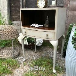 Vintage Bow Fronted Grey Hand Painted Bedside / Side Table With Cupboard Drawer