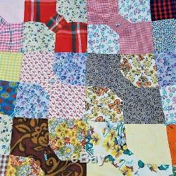 Vintage Bow Tie Patchwork Quilt Handmade Log Cabin Cottage Decor 95 x 70 Inch