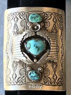 Vintage Ceremonial Navajo Native American Ketoh Sterling Bow Guard Cuff Bracklet