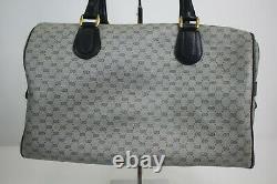 Vintage Gucci Blue Monogram Boston Hobo Travel Hand Shoulder Bag Made in Italy
