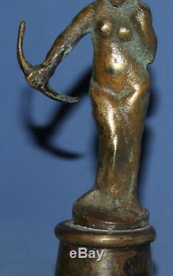 Vintage Hand Made Woman With Bow Bronze Statuette Dianna Goddess