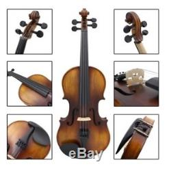 Vintage Handmade 4/4 Violin Acoustic Solid Wood Antique Violin With Bow