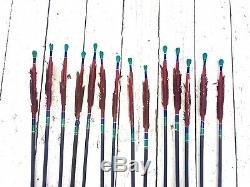 Vintage Handmade African Bow + 14 Metal Tip Arrows Archery Set