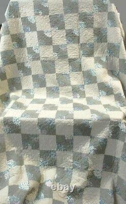 Vintage Handmade Bow Tie Taupe and Hunter Green Quilt 85 x 108