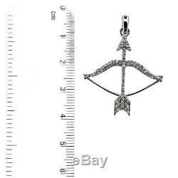 Vintage Inspired 925 Sterling Silver Pave Diamond Arrow & Bow Pendant Jewelry