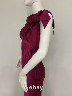 Vintage John Galliano Cranberry Wine Red Silk Satin Halter Gown W Bows Unworn 40