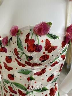 Vintage John Galliano Silk Corset Top Bustier W Whimsical Ladybug Print 32B